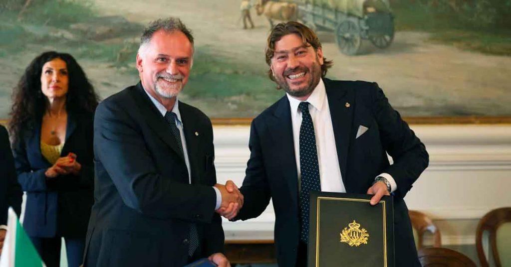 Il Ministro del Turismo Massimo Garavaglia e il Segretario di Stato per il Turismo Federico Pedini Amati della Repubblica di San Marino